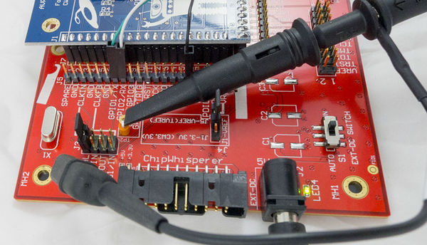 Details of a possible oscilloscope connection on the trigger pin, along with a USB-serial on GPIO1/GPIO2.